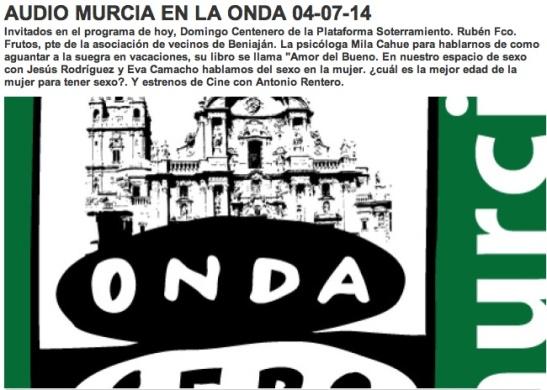 Onda Cero Murcia 4 Jul 2014