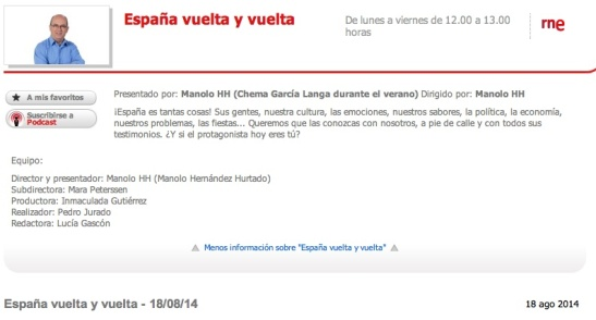 RNE España vuelta y vuelta 18 agosto 2014